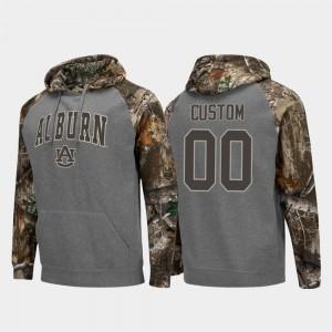 Charcoal Auburn Tigers College Custom Hoodie Realtree Camo For Men #00 Colosseum Raglan