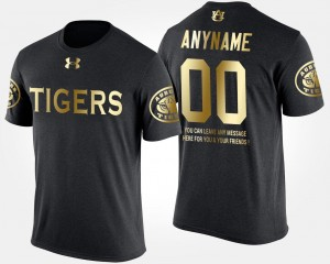 Short Sleeve With Message For Men's College Customized T-Shirts AU #00 Gold Limited Black