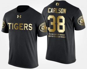 Men Short Sleeve With Message Daniel Carlson College T-Shirt Black Auburn Gold Limited #38