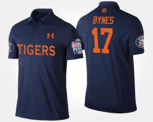 Josh Bynes College Polo Peach Bowl Mens Navy Bowl Game #17 Auburn