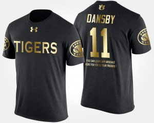 Auburn Tigers Karlos Dansby College T-Shirt #11 Black For Men's Gold Limited Short Sleeve With Message