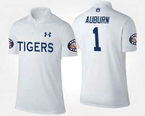 For Men No.1 Short Sleeve White Tigers College Polo #1