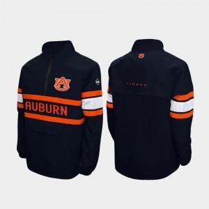 Alpha Windshell Pullover Quarter-Zip Navy Auburn University College Jacket Men