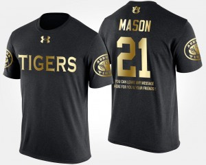 #21 Black Men's Gold Limited AU Short Sleeve With Message Tre Mason College T-Shirt