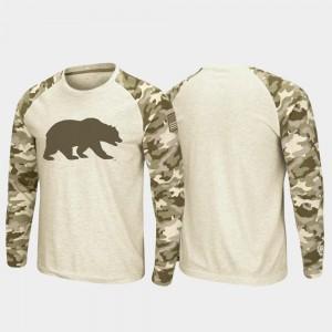 For Men's California Bears Raglan Long Sleeve Oatmeal OHT Military Appreciation College T-Shirt