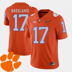 Clemson Tigers #17 Bashaud Breeland College Jersey Mens Orange 2018 ACC Football