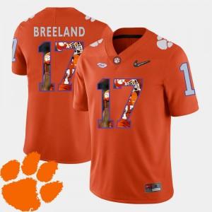 Clemson National Championship Football #17 For Men Bashaud Breeland College Jersey Orange Pictorial Fashion