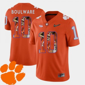 Orange Ben Boulware College Jersey Clemson Tigers #10 For Men's Football Pictorial Fashion