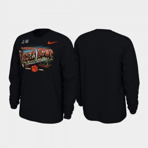 2019 Fiesta Bowl Bound Men's Black College T-Shirt Clemson Tigers Illustrations Long Sleeve
