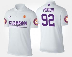 Clemson National Championship #92 White Bradley Pinion College Polo For Men