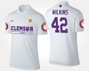 #42 Men's Christian Wilkins College Polo White Clemson Tigers