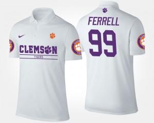 White Clelin Ferrell College Polo Clemson University Men #99