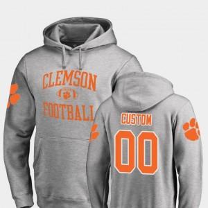 Men's Clemson University Ash Football Neutral Zone College Customized Hoodie #00