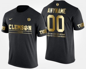 Clemson Tigers Mens Short Sleeve With Message #00 Gold Limited College Customized T-Shirts Black