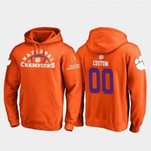 Football Playoff Pylon College Custom Hoodies Orange #00 2018 National Champions Clemson University Mens