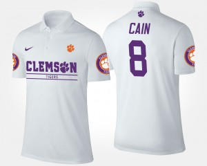 Deon Cain College Polo For Men White Clemson #8