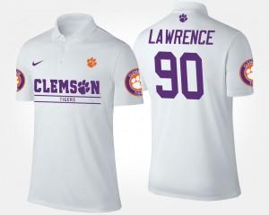 #90 White Clemson University Mens Dexter Lawrence College Polo
