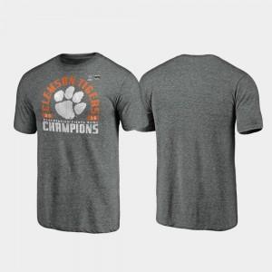 Gray College T-Shirt Offensive Tri-Blend Clemson 2019 Fiesta Bowl Champions Mens