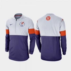 Football Half-Zip Rivalry College Jacket Men Gray Purple Clemson University