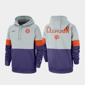Clemson National Championship College Hoodie Men's Gray Purple Rivalry Therma Performance Pullover