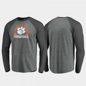 For Men's Offensive Long Sleeve Raglan Heather Gray College T-Shirt Clemson National Championship 2019 Fiesta Bowl Champions