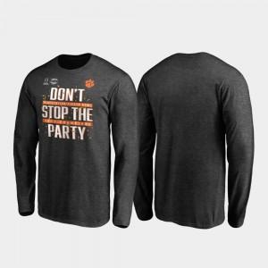 Men's Receiver Long Sleeve Football Playoff 2019 Fiesta Bowl Champions Clemson Heather Gray College T-Shirt