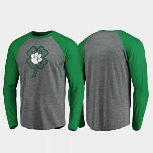 Heathered Gray Raglan Long Sleeve Celtic Charm Clemson University Mens College T-Shirt St. Patrick's Day