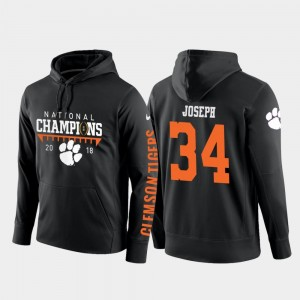 2018 National Champions Black Football Pullover #34 Clemson Kendall Joseph College Hoodie For Men