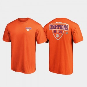 Orange 2019 Fiesta Bowl Champions Clemson National Championship College T-Shirt For Men's Lateral Score Football Playoff