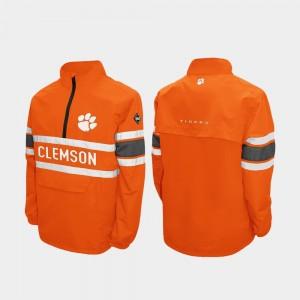 College Jacket Men's Quarter-Zip Clemson Orange Alpha Windshell Pullover