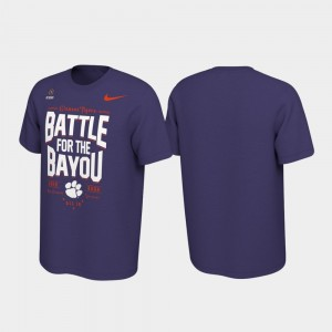 College T-Shirt Clemson University 2019 Football Playoff Bound Purple Battle For The Bayou For Men