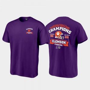 College T-Shirt Clemson Score Football Playoff 2019 Fiesta Bowl Champions Men Purple