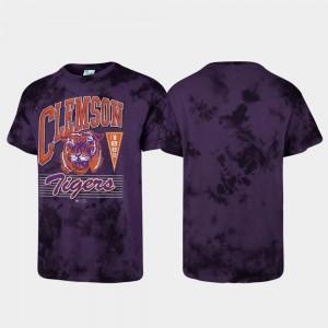 For Men's Purple College T-Shirt Clemson University Tubular Tie Dye