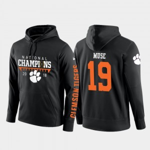 #19 Black Clemson 2018 National Champions Men's Tanner Muse College Hoodie Football Pullover