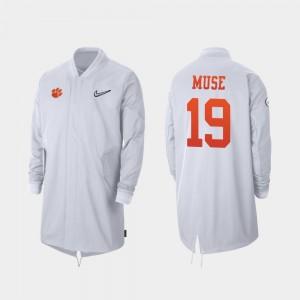 Full-Zip Sideline 2019 Football Playoff Bound Tanner Muse College Jacket White Clemson University For Men #19