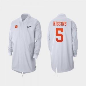 Clemson Tigers Tee Higgins College Jacket #5 White For Men 2019 Football Playoff Bound Full-Zip Sideline