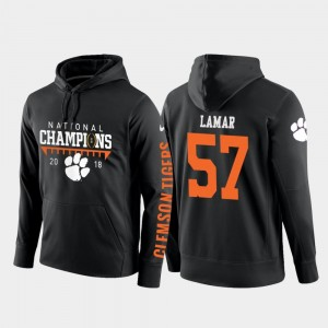 Tre Lamar College Hoodie For Men's 2018 National Champions Black CFP Champs #57 Football Pullover