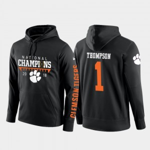 2018 National Champions Football Pullover Men #1 Trevion Thompson College Hoodie Black Clemson National Championship