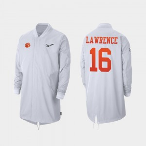 2019 Football Playoff Bound Clemson White #16 Full-Zip Sideline Trevor Lawrence College Jacket For Men