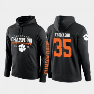 Black Ty Thomason College Hoodie Football Pullover Men #35 Clemson 2018 National Champions