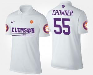 Tyrone Crowder College Polo #55 Mens Clemson University White