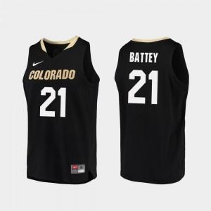 Basketball Black Replica CU #21 Men Evan Battey College Jersey