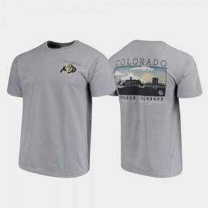 Men CU Buffs Gray Comfort Colors Campus Scenery College T-Shirt
