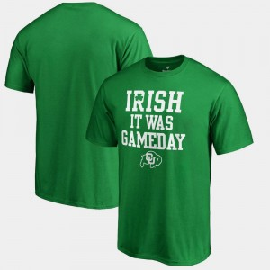 Irish It Was Gameday Kelly Green Colorado Buffaloes College T-Shirt For Men's St. Patrick's Day
