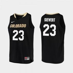 For Men's University of Colorado Replica #23 Basketball Lucas Siewert College Jersey Black