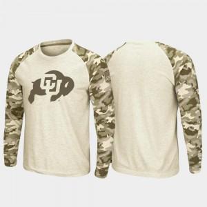 Oatmeal Men Colorado College T-Shirt Raglan Long Sleeve OHT Military Appreciation