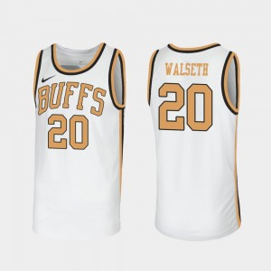 For Men's Throwback White #NAME? #20 Sox Walseth College Jersey CU Buffs