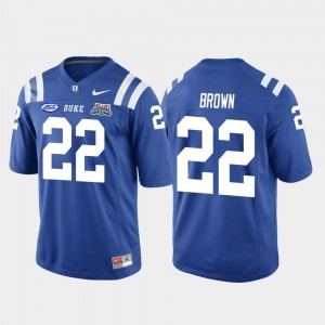Brittain Brown College Jersey #22 2018 Independence Bowl Football Game Royal Duke Blue Devils Men's