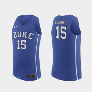 Men Duke Authentic Alex O'Connell College Jersey Royal #15 March Madness Basketball
