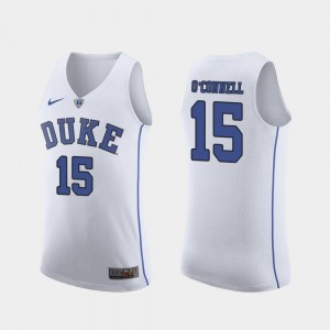Alex O'Connell College Jersey March Madness Basketball Duke University #15 White For Men Authentic